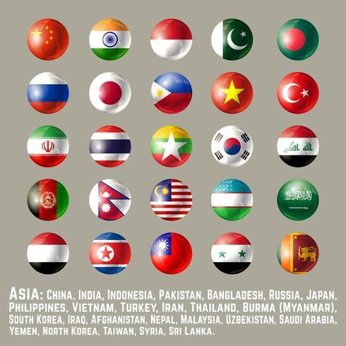 Asia botón redondo banderas uno vector