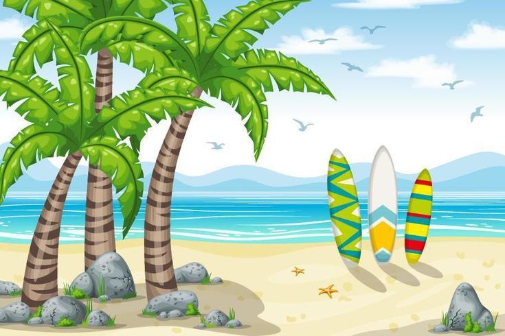 Vista a la playa de dibujos animados con tablas de surf