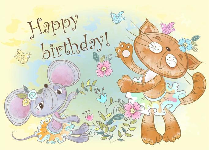 Cartão de aniversário com amigos fofos de gato e rato em aquarela vetor