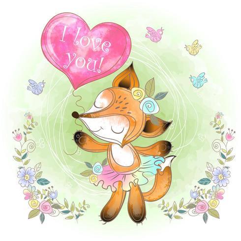 Leuke vos met een ballon in de vorm van een hart. Ik hou van je. vector