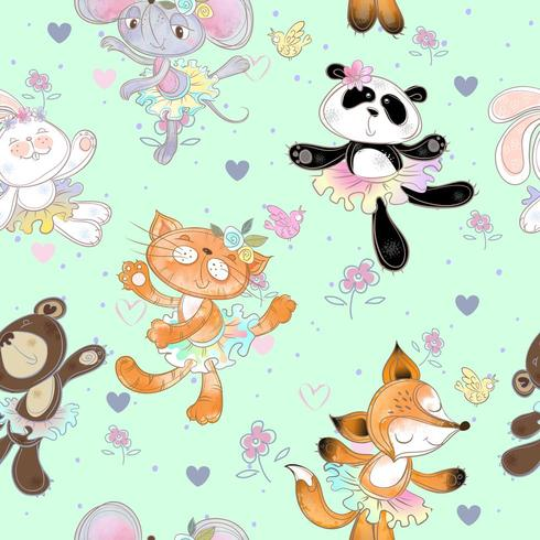 Seamless pattern with dancing animals. Kitty Fox mouse bear and Bunny. vector
