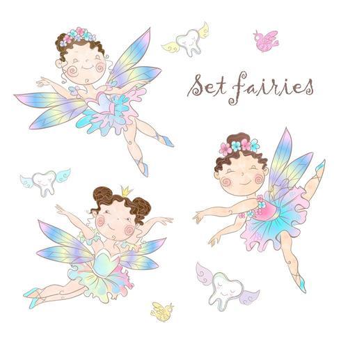Set of cute fairies vector
