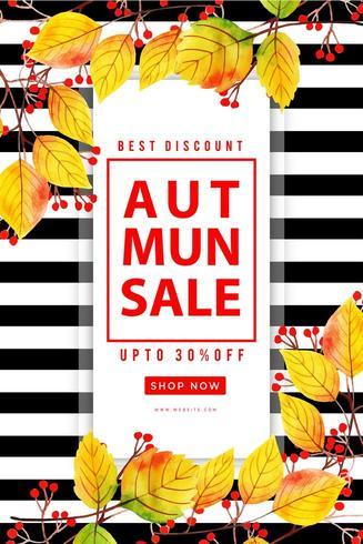 Cartaz bonito da venda das folhas de outono vetor