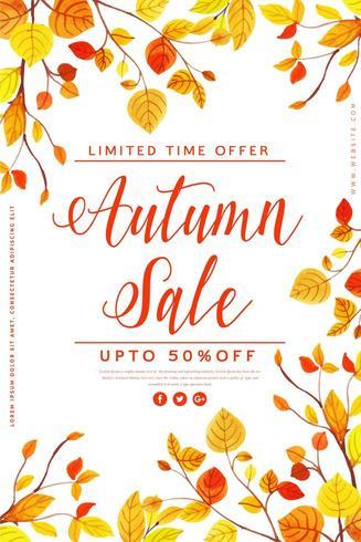 Aquarel herfstbladeren verkoop Poster vector