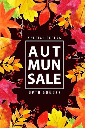 Cartaz de venda de folhas de outono aquarela linda vetor