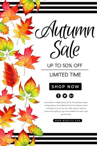 Bello manifesto di vendita dei fogli di autunno dell'acquerello vettore