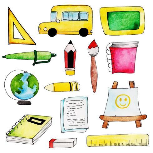 Aquarel School elementen collectie vector