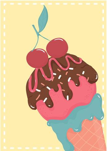 cono di cialda gelato Starwberry dolce al cioccolato con carta estiva ciliegia vettore