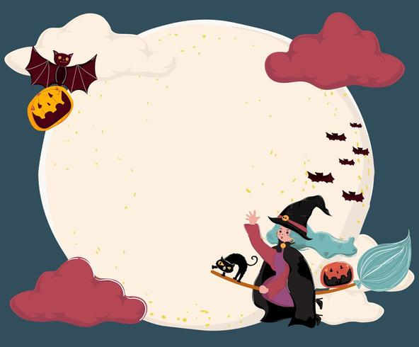 cute flat vector a witch ride a magic bloom, flying over the full moon with cat and bat