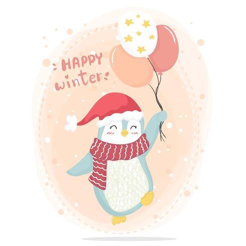 Pinguino rosa felice di inverno felice con la sciarpa rossa e cappello rosso che tengono i palloni rosa della stella