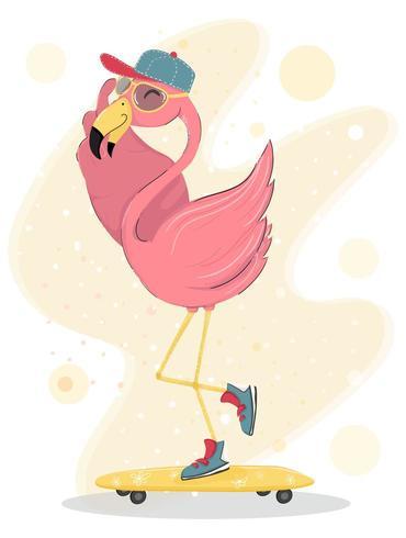 carino felice fenicottero rosa indossare cappello e occhiali da sole skateboard, elemento piatto personaggio vettore