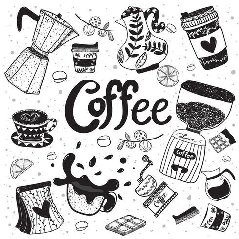 elemento piatto di disegno a mano attrezzatura caffè Doodle vettore