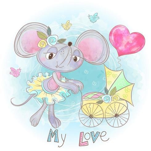 Mamá ratón con un bebé en una carriola. Mi niño. Baby shower Acuarela vector