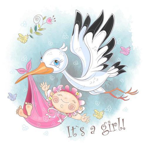 Ooievaar vliegt met babymeisje. Babyshower. Briefkaart voor de geboorte van een baby. Waterverf