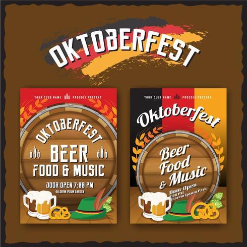 Folleto del festival de cerveza Oktoberfest y plantilla de póster vector