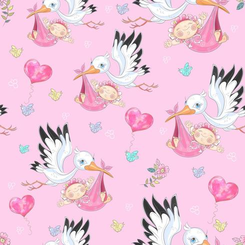 Seamless background for baby girl's birth. Stork with baby girls