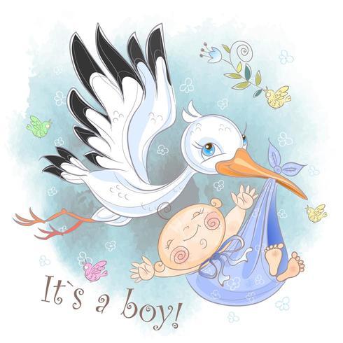 Ooievaar vliegt met babyjongen. Babyshower. Briefkaart voor de geboorte van een baby. Waterverf