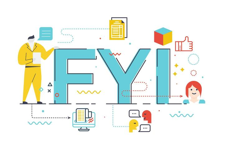 FYI ilustración de letras de palabras vector