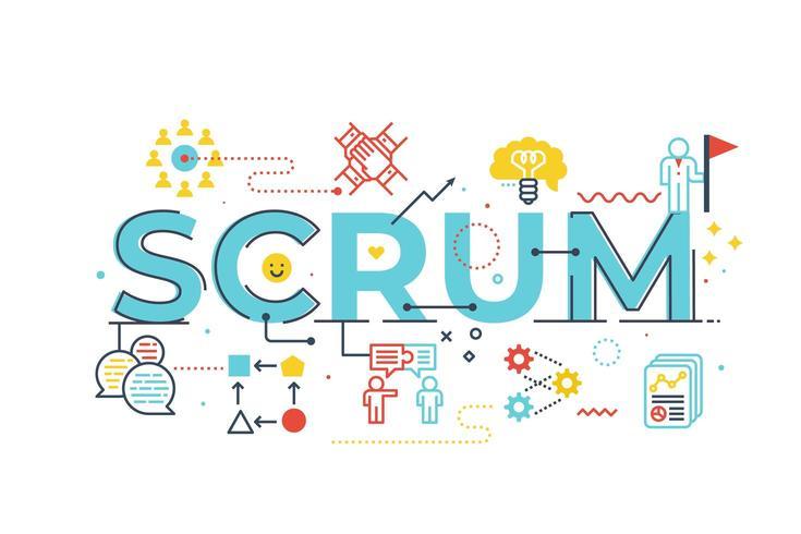 Scrum word lettering illustration vector