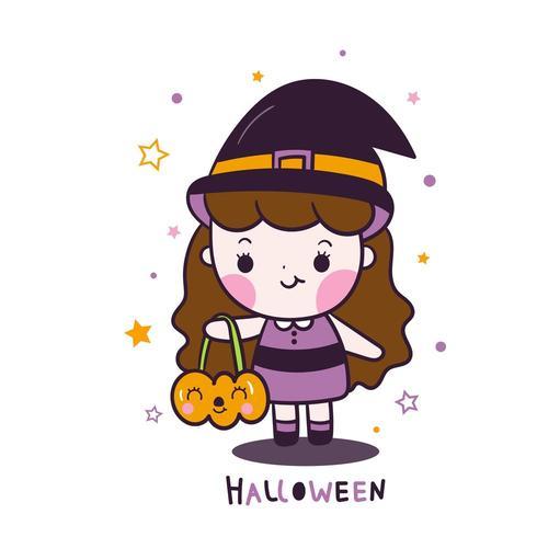 Kawaii Halloween niña de dibujos animados con dibujos animados de cubo de calabaza con estrella vector