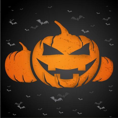 Concepto de Halloween con papel cortado en forma, calabaza. vector