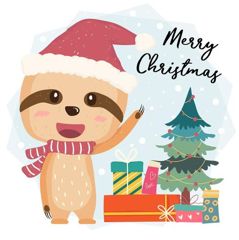 Cute happy smilling sloth flat vector with gift boxes and christmas tree in Santa hat, merry christmas