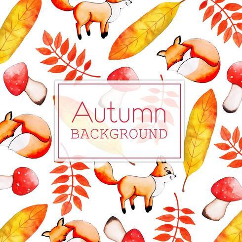 Bella acquerello Autumn Fox e foglie vettore