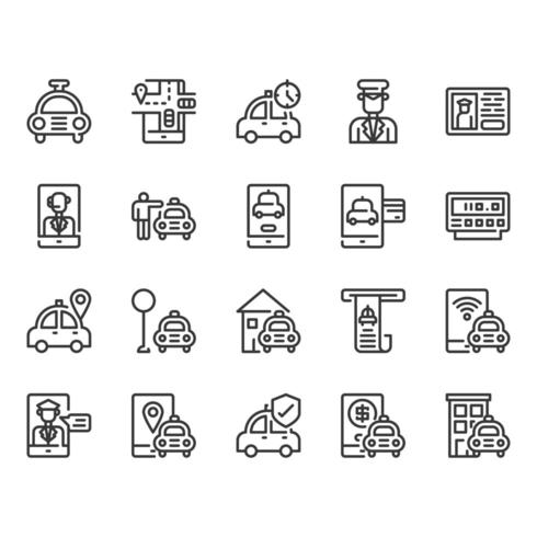 Taxi and Delivery Service icon set