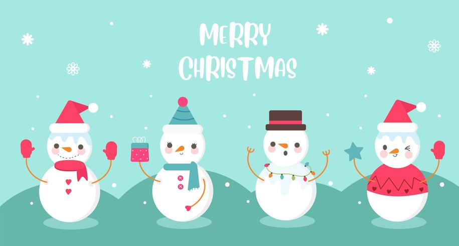 Confezione di simpatici pupazzi di neve collezione dolce festa di Natale kawaii vettore