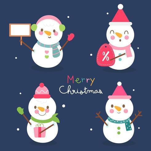 Satz snowmans Kunstsammlungsverkaufs-Discounter süßes Weihnachtskarikaturfestival vektor