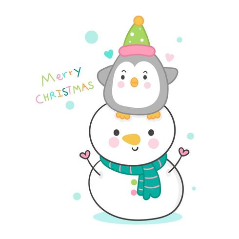 Cute snowmans and penguin cartoon amistad dulce festival de navidad kawaii
