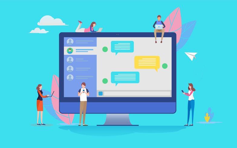 Un groupe de personnes utilise une application de discussion en ligne sur les médias sociaux vecteur