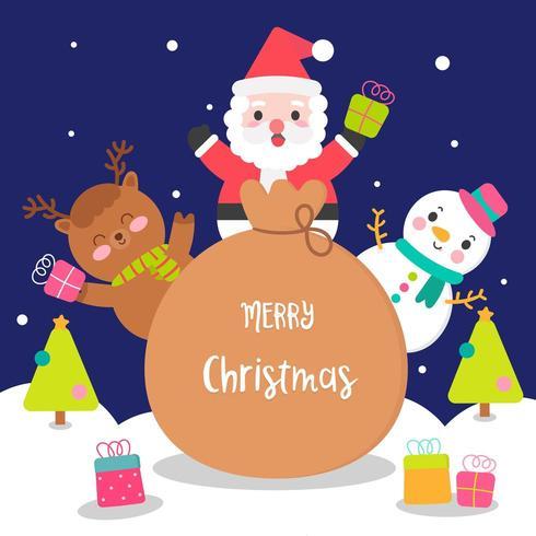 Jultecknad karaktär uppsättning jultomten snögubbe ren
