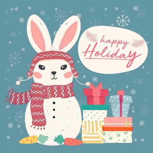 lindo muñeco de nieve de conejito de vector plano con pila de cajas de regalo y copo de nieve cayendo, idea para tarjeta y banner