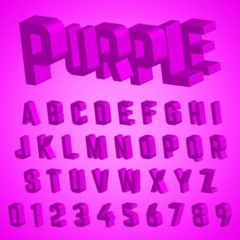 Alphabet font purple design