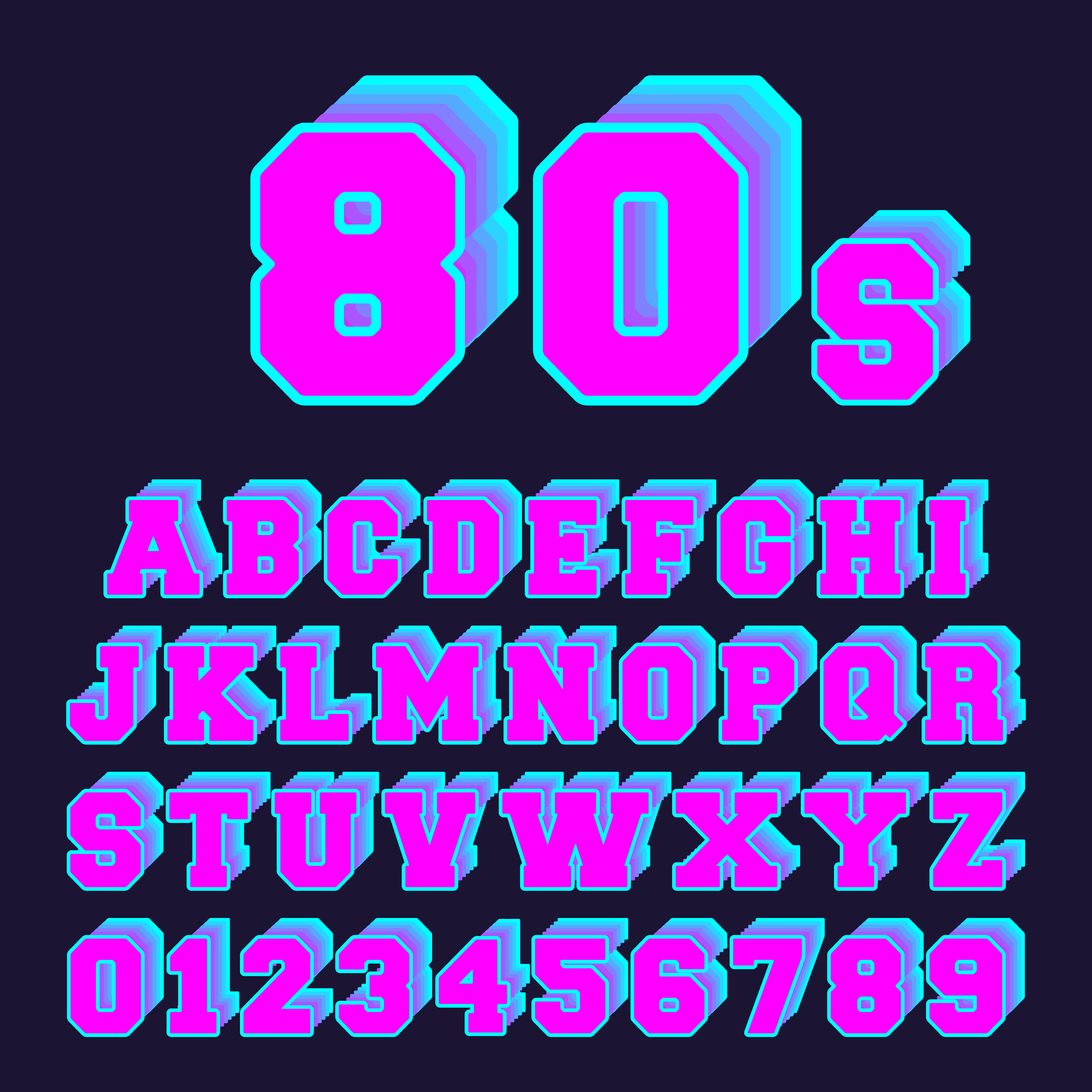 80s Alphabet Font Design Set Of Letters And Numbers Old Video Game Style Download Free Vectors Clipart Graphics Vector Art