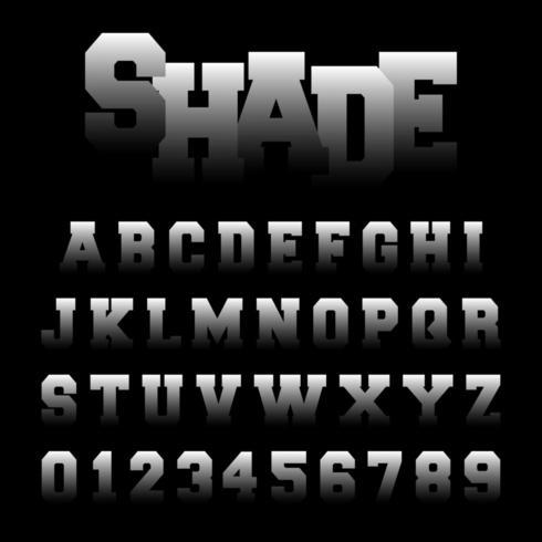 Plantilla de fuente de alfabeto de sombra vector