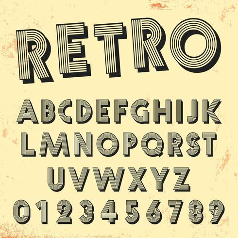 Retro line font template. Set of vintage letters and numbers lines design