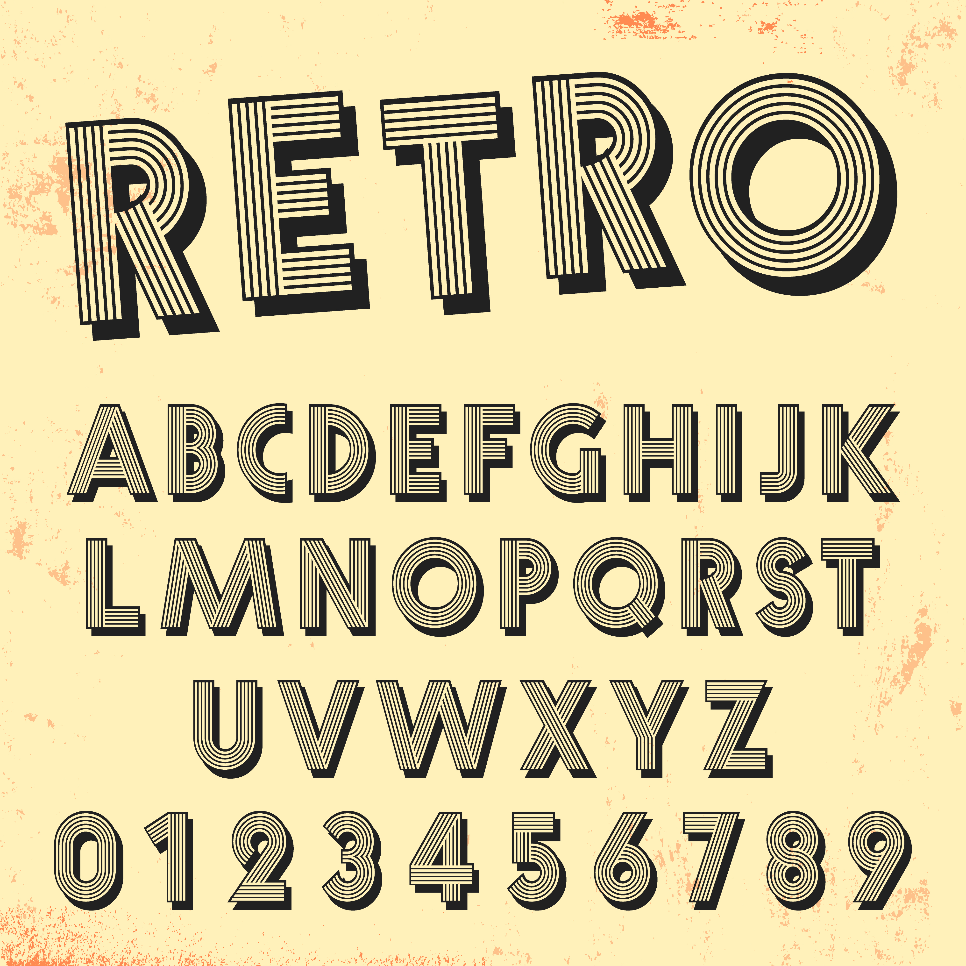 Retro Line Font Template . Set Of Vintage Letters And