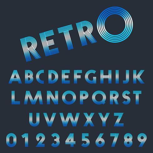 Modello di carattere leggero retrò. Set di lettere e numeri linea design