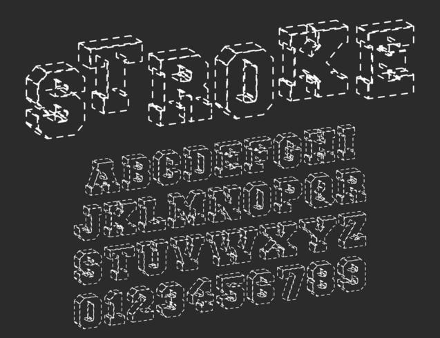 Modelo de fonte de alfabeto de traços