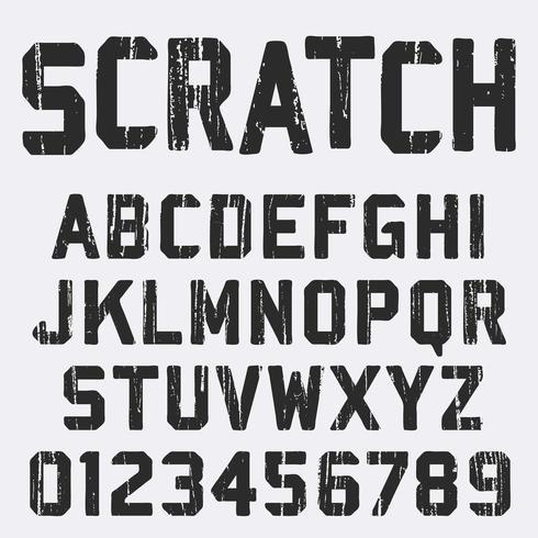 Scratched alphabet font template vector