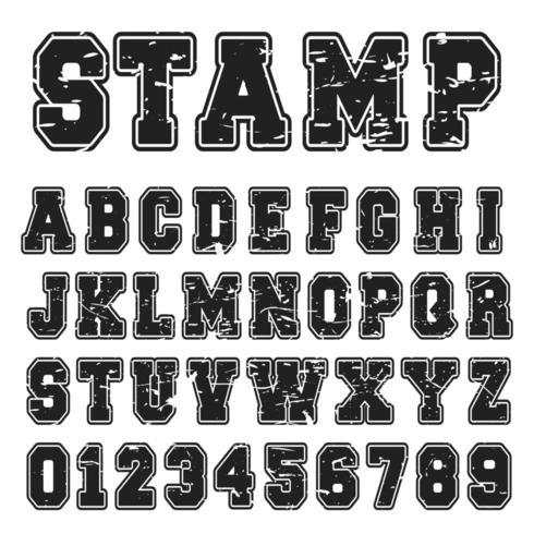 Alphabet Schrift schwarz Briefmarkenentwurf vektor