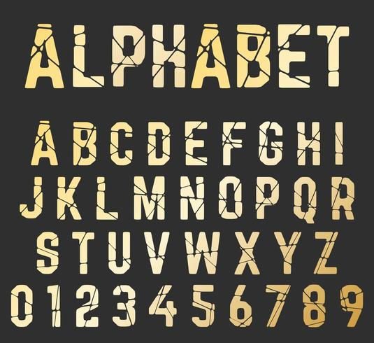Broken font alphabet. Set of letters and numbers cracked design