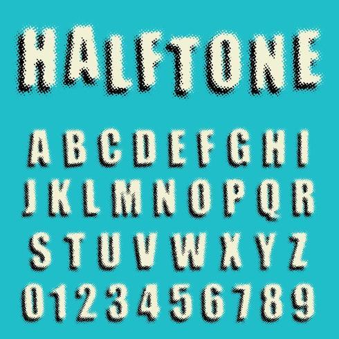 Alphabet font dotted halftone design vector