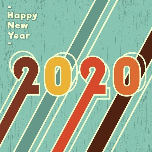 2020 Happy New Year background, vintage vector design