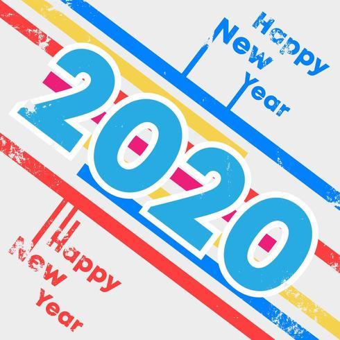 Fond 2020 Happy New Year avec la conception de texture grunge pour flyer de vacances, voeux, carte d'invitation, flyer, affiche, couverture de brochure, typographie ou autres produits d'impression vecteur