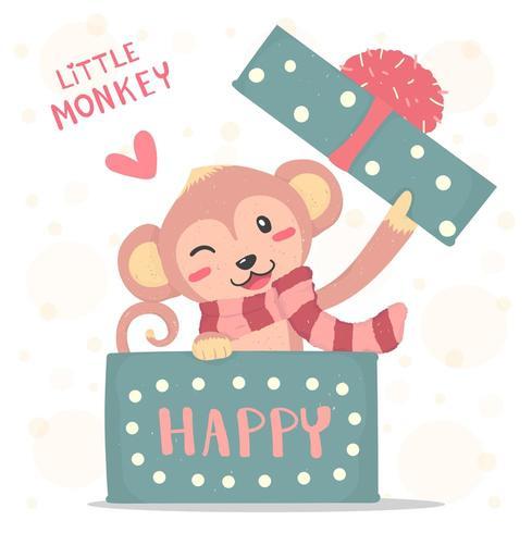 Sourire heureux petit singe avec une écharpe rouge apparaît dans une boîte cadeau vecteur
