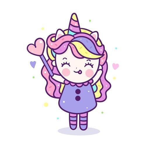 Ragazza di unicorno kawaii in costume carino simpatico cartone animato di pony assomiglia a cibi e bevande dolci a ciambella