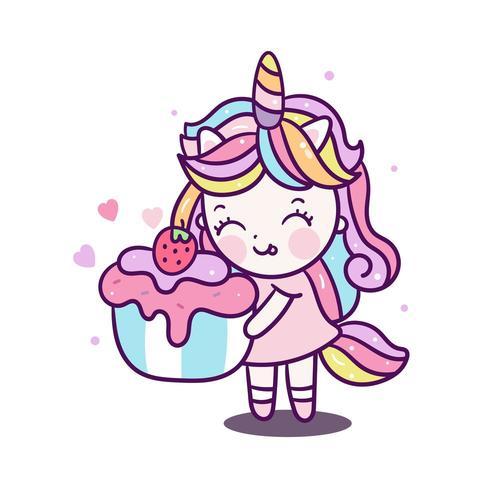 Menina bonito do unicórnio segurando cupcake Kawaii
